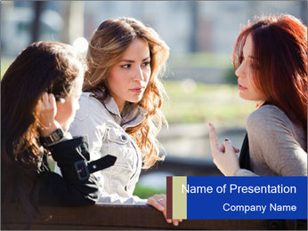 Trio Of Girlfriends PowerPoint Template - Slide 1