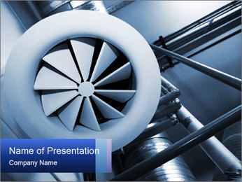 System of ventilating pipes at a modern factory PowerPoint Template - Slide 1