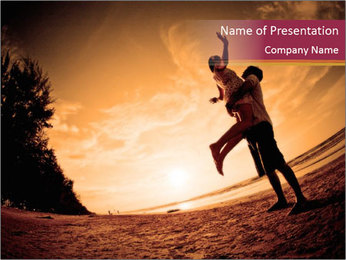 Happiness and romantic Scene of love couples partners on the Beach PowerPoint Template - Slide 1