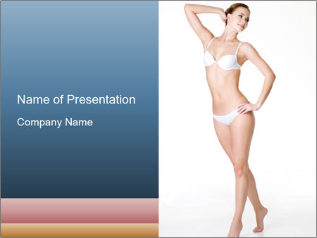 Happy young slim woman with beautiful perfect body PowerPoint Template a2009ed30