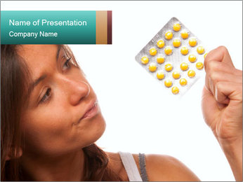 Woman Takes Pills PowerPoint Template - Slide 1