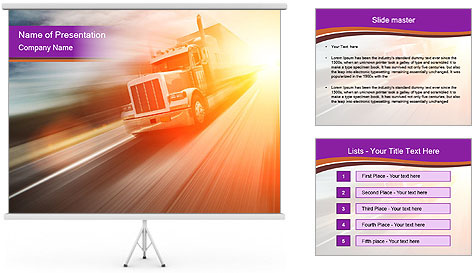 Vehicle And Bright Light PowerPoint Template