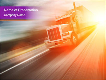 Vehicle And Bright Light PowerPoint Template - Slide 1