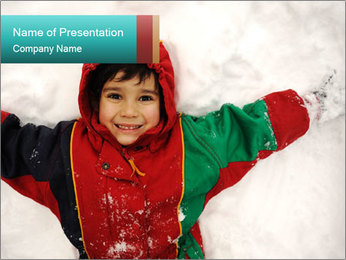 Child Plays With Snow PowerPoint Template