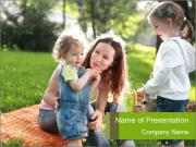 Mother With Kids In Park PowerPoint Templates
