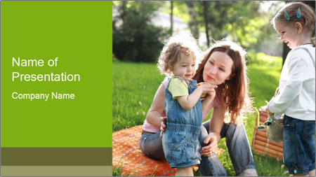 Mother With Kids In Park PowerPoint Template