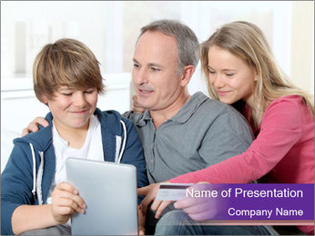 All Family Watching At Tablet Screen PowerPoint Template - Slide 1