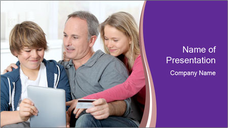 All Family Watching At Tablet Screen PowerPoint Template