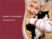 Grandmama Hugs Cat PowerPoint Templates