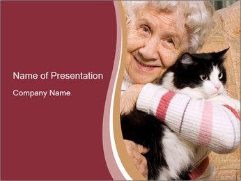 Grandmama Hugs Cat PowerPoint Template - Slide 1