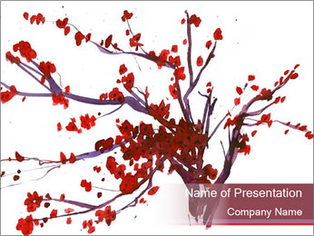 Japanese Cherry Tree PowerPoint Template - Slide 1