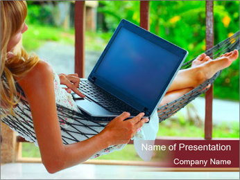 Woman In Hammock With Laptop PowerPoint Template - Slide 1