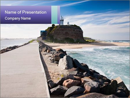 Road To Lighthouse PowerPoint Templates