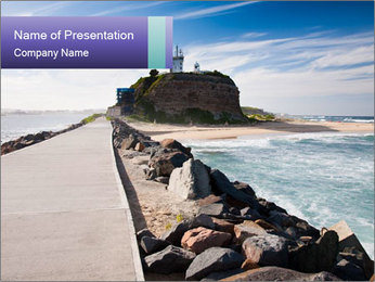 Road To Lighthouse PowerPoint Template