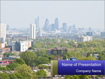 Green City Panorama PowerPoint Template - Slide 1