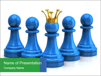 Blue Chess Figures PowerPoint Template