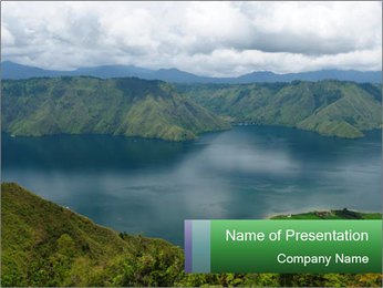 View from the Samosir island PowerPoint Templates - Slide 1
