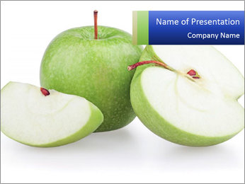 Green apples and apple slices isolated PowerPoint Template