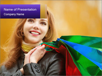Happy Woman After Shopping PowerPoint Template - Slide 1