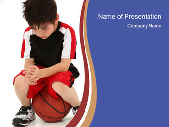 Sad Junior Football Player PowerPoint Template - Slide 1