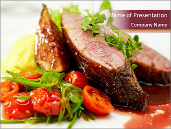 Meat Dish PowerPoint Template - Slide 1