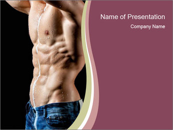 Man Shows Abs Muscles PowerPoint Template