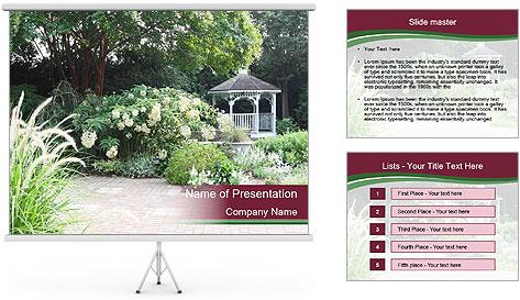 Kiosk In Garden PowerPoint Template