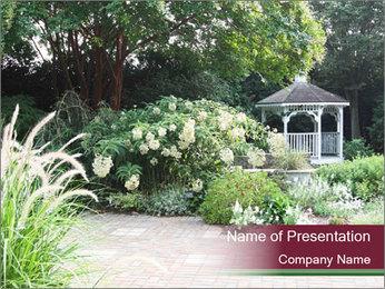 Kiosk In Garden PowerPoint Template - Slide 1