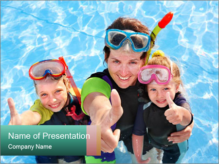 Mother And Children Diving In Pool PowerPoint Templates