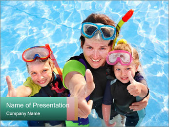 Mother And Children Diving In Pool PowerPoint Templates - Slide 1