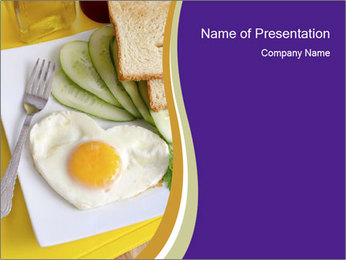Heart-Shaped Egg For Breakfast PowerPoint Template - Slide 1