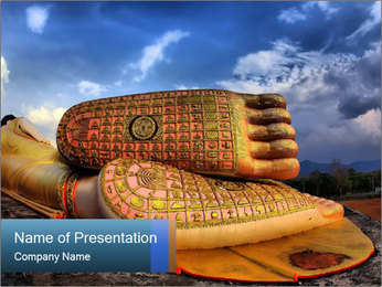 Buddha Feet PowerPoint Template - Slide 1