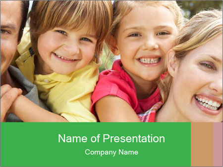 Smiling Family With Kids PowerPoint Templates