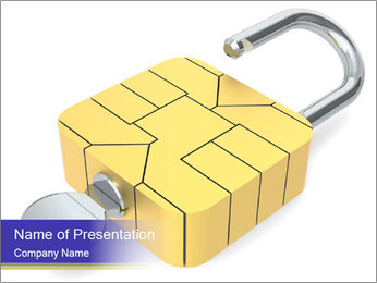 Yellow Lock PowerPoint Template - Slide 1