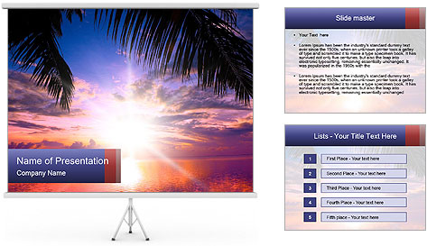 Bright Sun And Coconut Tree PowerPoint Template