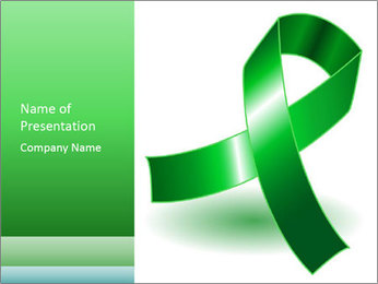 Green Cancer Symbol PowerPoint Templates - Slide 1