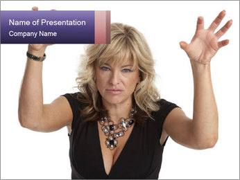 Irritated Middle-Aged Woman PowerPoint Template - Slide 1