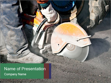 Man Cutting Asphalt PowerPoint Template