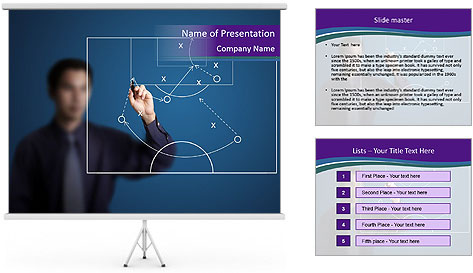Man Drawing Business Tactic PowerPoint Template