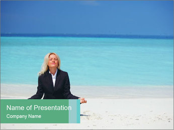 Businesswoman Meditating On Beach PowerPoint Template