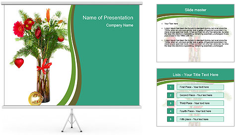 Red Flowers In Vase PowerPoint Template