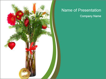 Red Flowers In Vase PowerPoint Templates - Slide 1