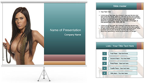 Sexy Woman With Bullets PowerPoint Template