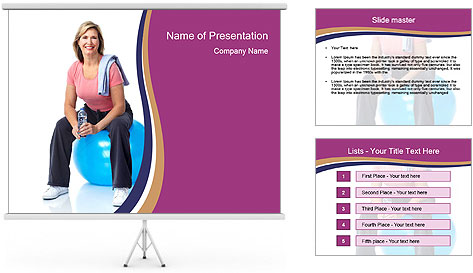 Woman Sitting On Blue Gym Ball PowerPoint Template