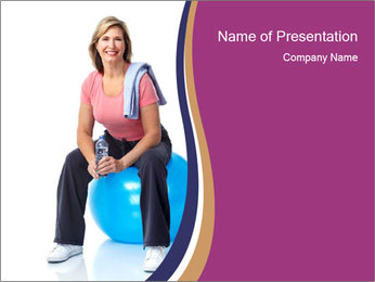 Woman Sitting On Blue Gym Ball PowerPoint Template - Slide 1