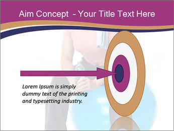 Woman Sitting On Blue Gym Ball PowerPoint Template - Slide 83