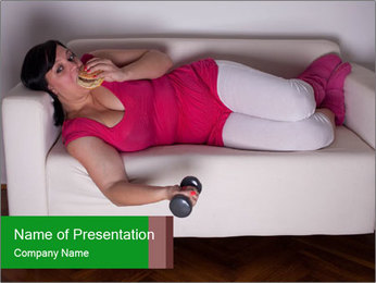 Woman With Hamburger And Dumbbell PowerPoint Template