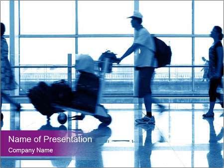 day at airport powerpoint template & backgrounds id 0000090272, Modern powerpoint