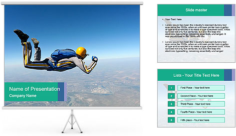 Jump With Parachute PowerPoint Template