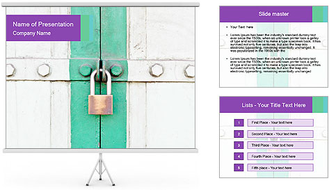 White And Green Door With Lock PowerPoint Template